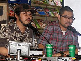 トークライブに参加した (左から)清水崇監督、豊島圭介監督「呪怨」