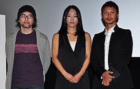 コンペティション部門に選出された「黒い四角」 の(左から)奥原浩志監督、鈴木美妃、中泉英雄「タイムレスメロディ」