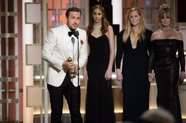 コメディ/ミュージカル部門で主演男優賞を受賞したライアン・ゴズリング