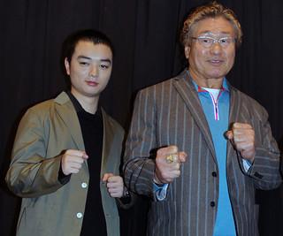 舞台挨拶に立った 天龍源一郎と染谷将太「LIVE FOR TODAY 天龍源一郎」