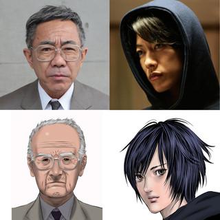 「いぬやしき」に主演する木梨憲武(左上)と 大量殺人鬼に扮する佐藤健「いぬやしき」