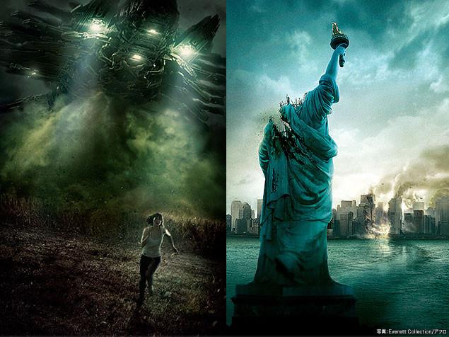 本作(左)と「クローバーフィールド」(右)のメイン・ビジュアル。色調が似ている!?